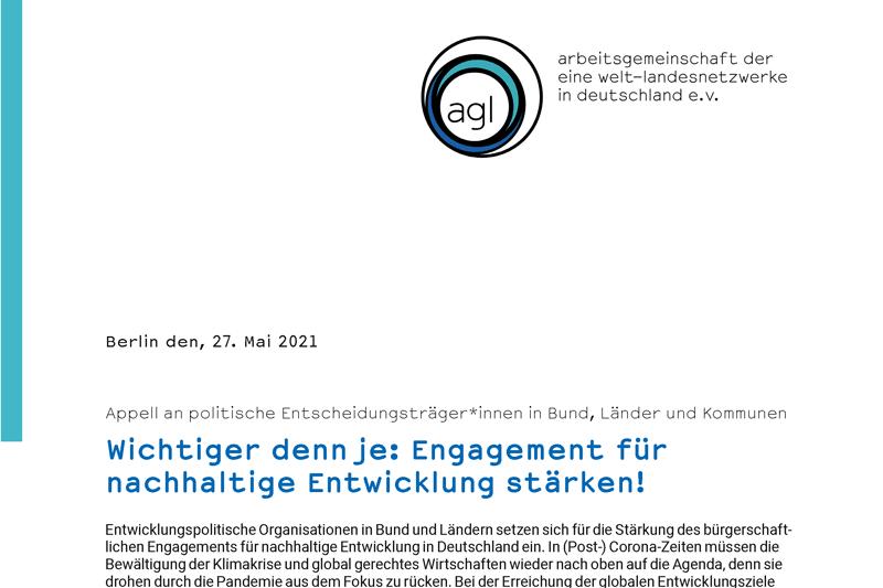 Appell an politische Entscheidungsträger*innen in Bund, Länder und Kommunen Wichtiger denn je: Engagement für nachhaltige Entwicklung stärken!