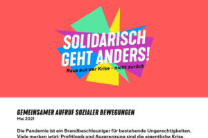 "GEMEINSAMER AUFRUF SOZIALER BEWEGUNGEN ""Solidarisch geht anders!"""