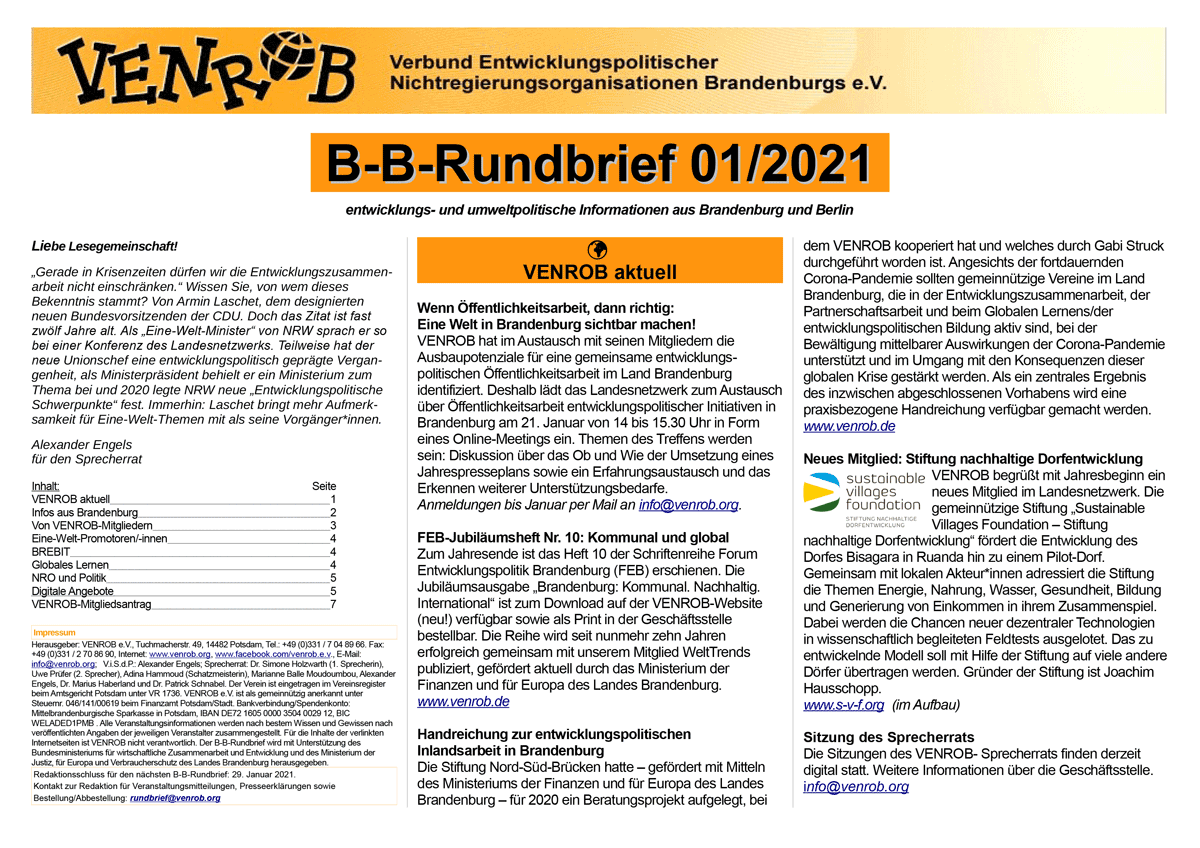 B-B-Rundbrief 1-2021 | entwicklungs- und umweltpolitische Informationen aus Brandenburg und Berlin