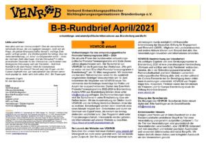 B-B-Rundbrief April 2021 | Entwicklungs- und umweltpolitische Informationen aus Brandenburg und Berlin
