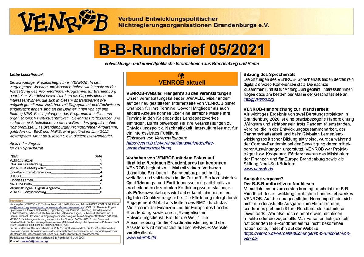 B-B-Rundbrief Mai 2021 von VENROB e.V.