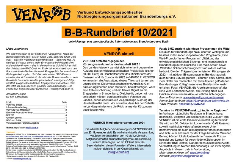 B-B-Rundbrief Oktober 2021   Entwicklungs- und umweltpolitische