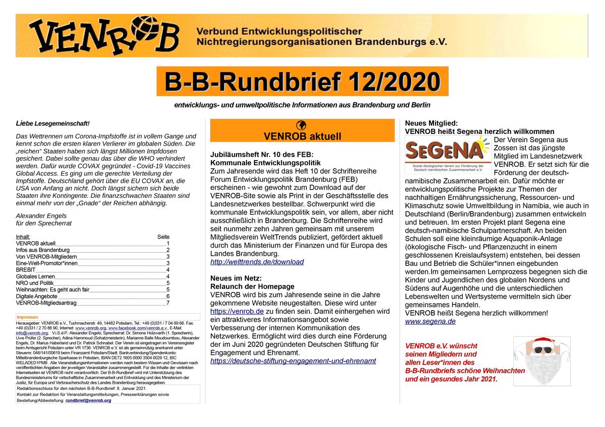 B-B-Rundbrief 12-2020 | entwicklungs- und umweltpolitische Informationen aus Brandenburg und Berlin