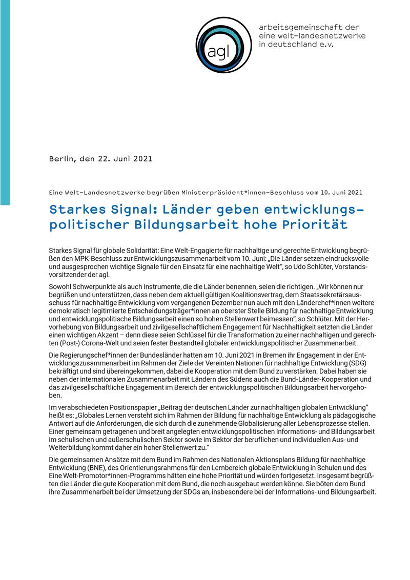 Eine Welt-Landesnetzwerke begrüßen Ministerpräsident*innen-Beschluss vom 10. Juni 2021
