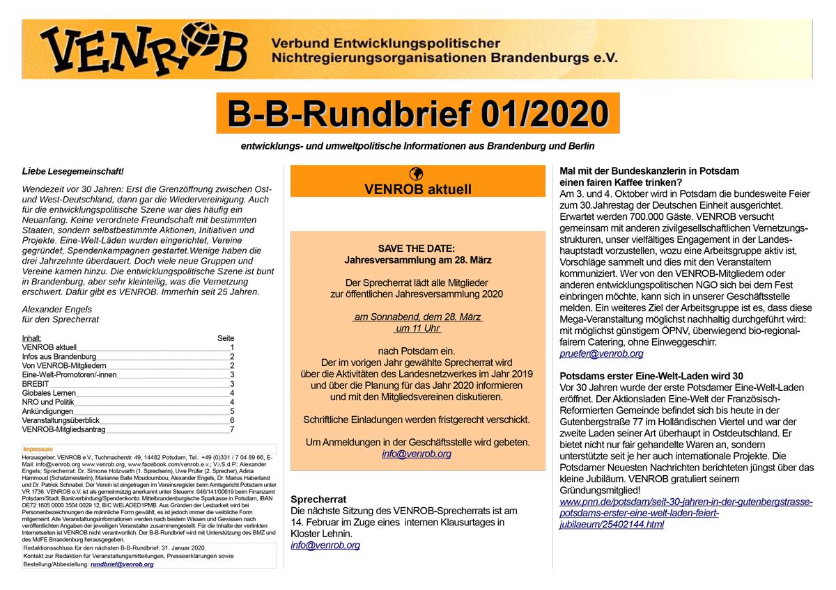 B-B-Rundbrief 01-2020 | entwicklungs- und umweltpolitische Informationen aus Brandenburg und Berlin