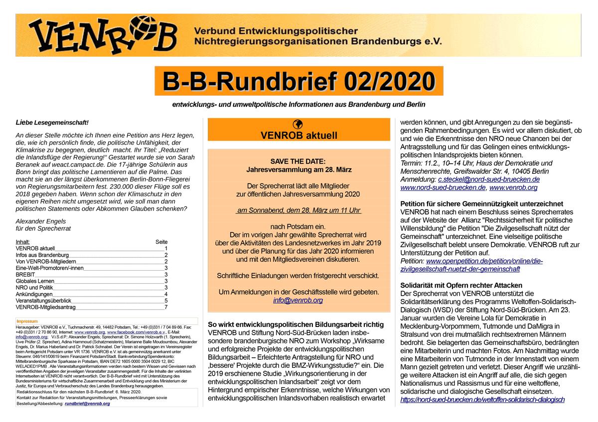 B-B-Rundbrief 02-2020 | entwicklungs- und umweltpolitische Informationen aus Brandenburg und Berlin