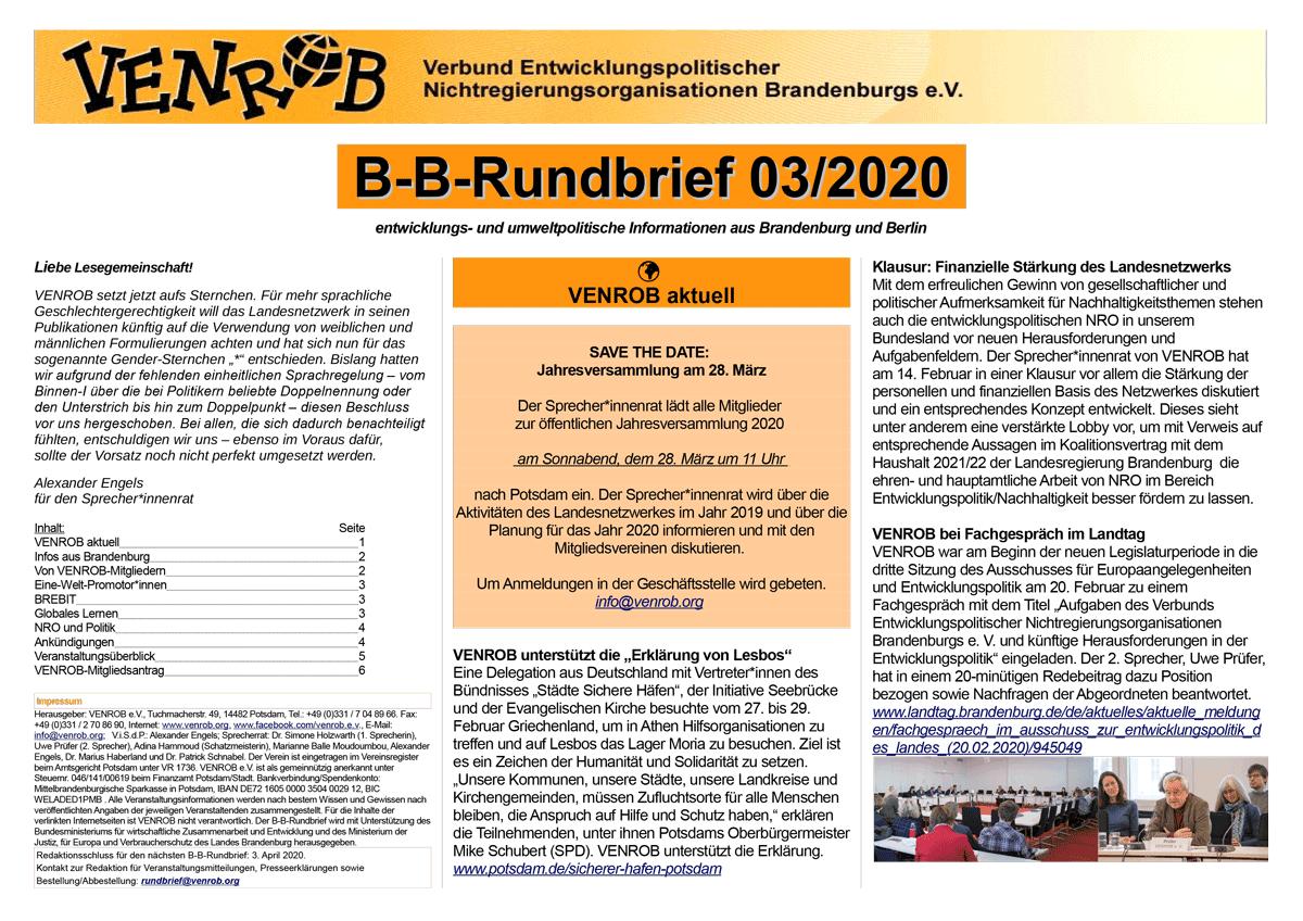 B-B-Rundbrief 03-2020 | entwicklungs- und umweltpolitische Informationen aus Brandenburg und Berlin