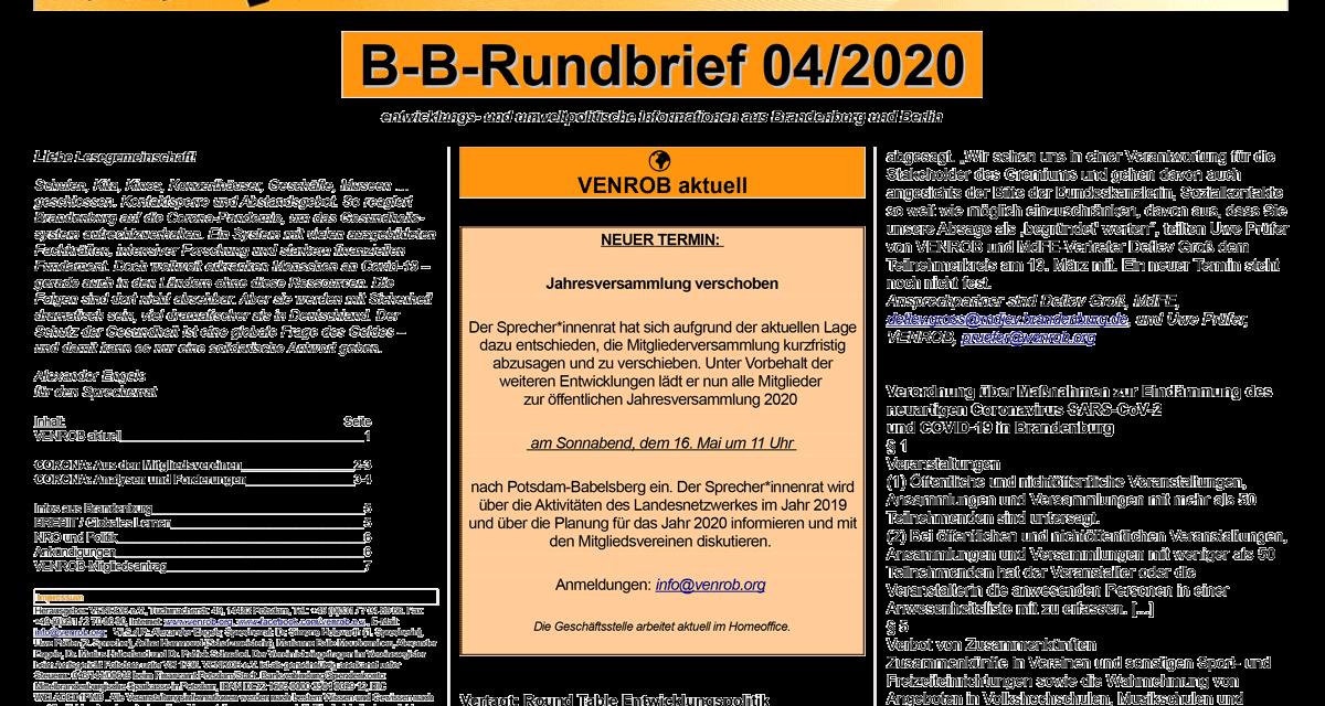 B‑B-Rundbrief 4/2020