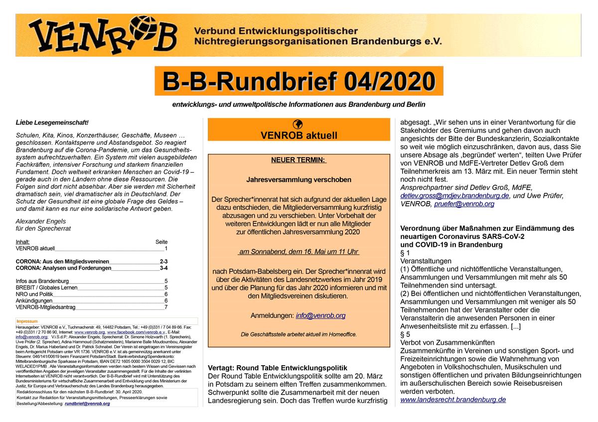B-B-Rundbrief 04-2020 | entwicklungs- und umweltpolitische Informationen aus Brandenburg und Berlin
