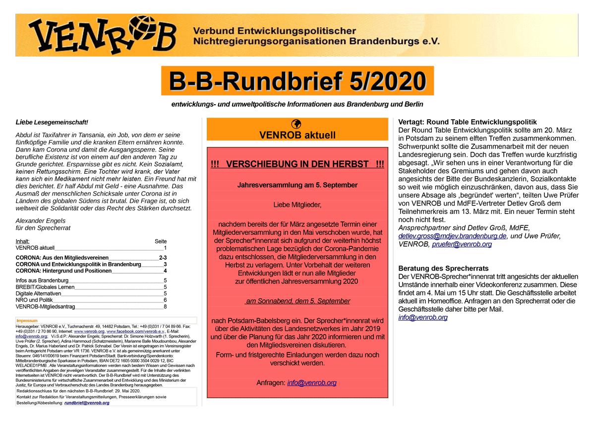 B-B-Rundbrief 05-2020 | entwicklungs- und umweltpolitische Informationen aus Brandenburg und Berlin