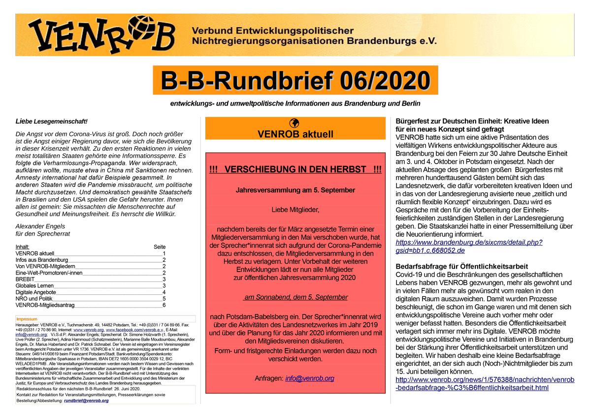 B-B-Rundbrief 06-2020 | entwicklungs- und umweltpolitische Informationen aus Brandenburg und Berlin