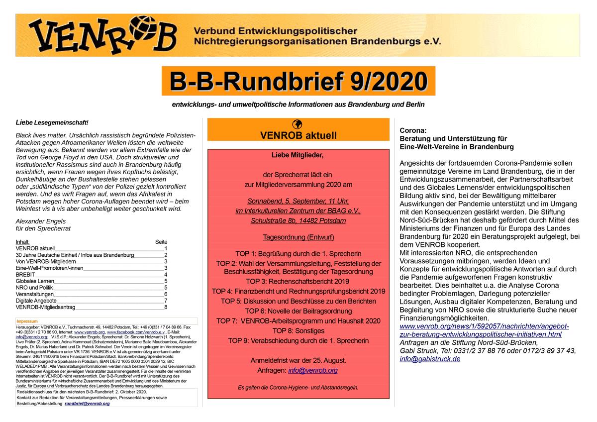 B-B-Rundbrief 9-2020 | entwicklungs- und umweltpolitische Informationen aus Brandenburg und Berlin