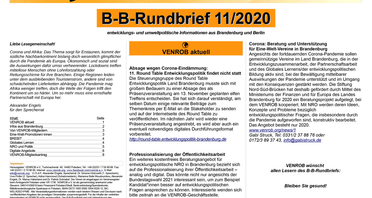 B‑B-Rundbrief 11/​2020