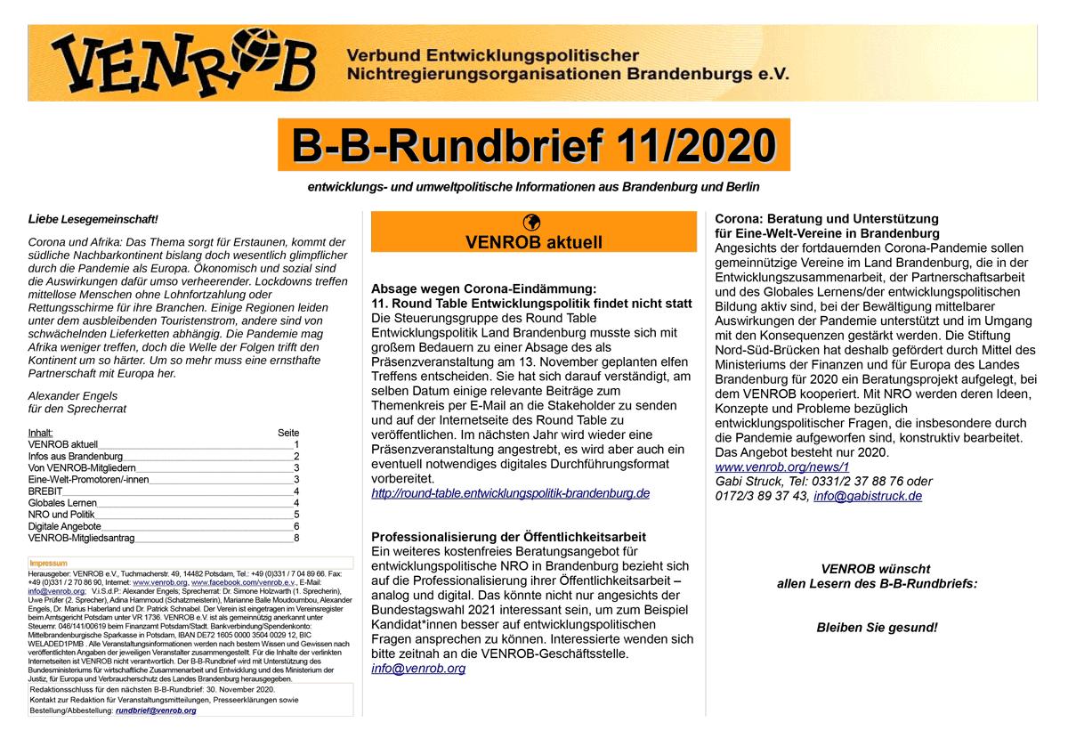 B-B-Rundbrief 11-2020 | entwicklungs- und umweltpolitische Informationen aus Brandenburg und Berlin