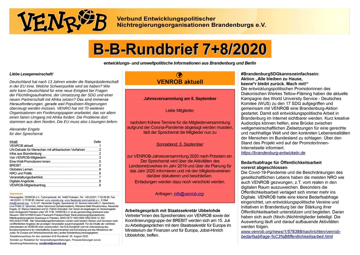 B-B-Rundbrief 7+8-2020 | entwicklungs- und umweltpolitische Informationen aus Brandenburg und Berlin