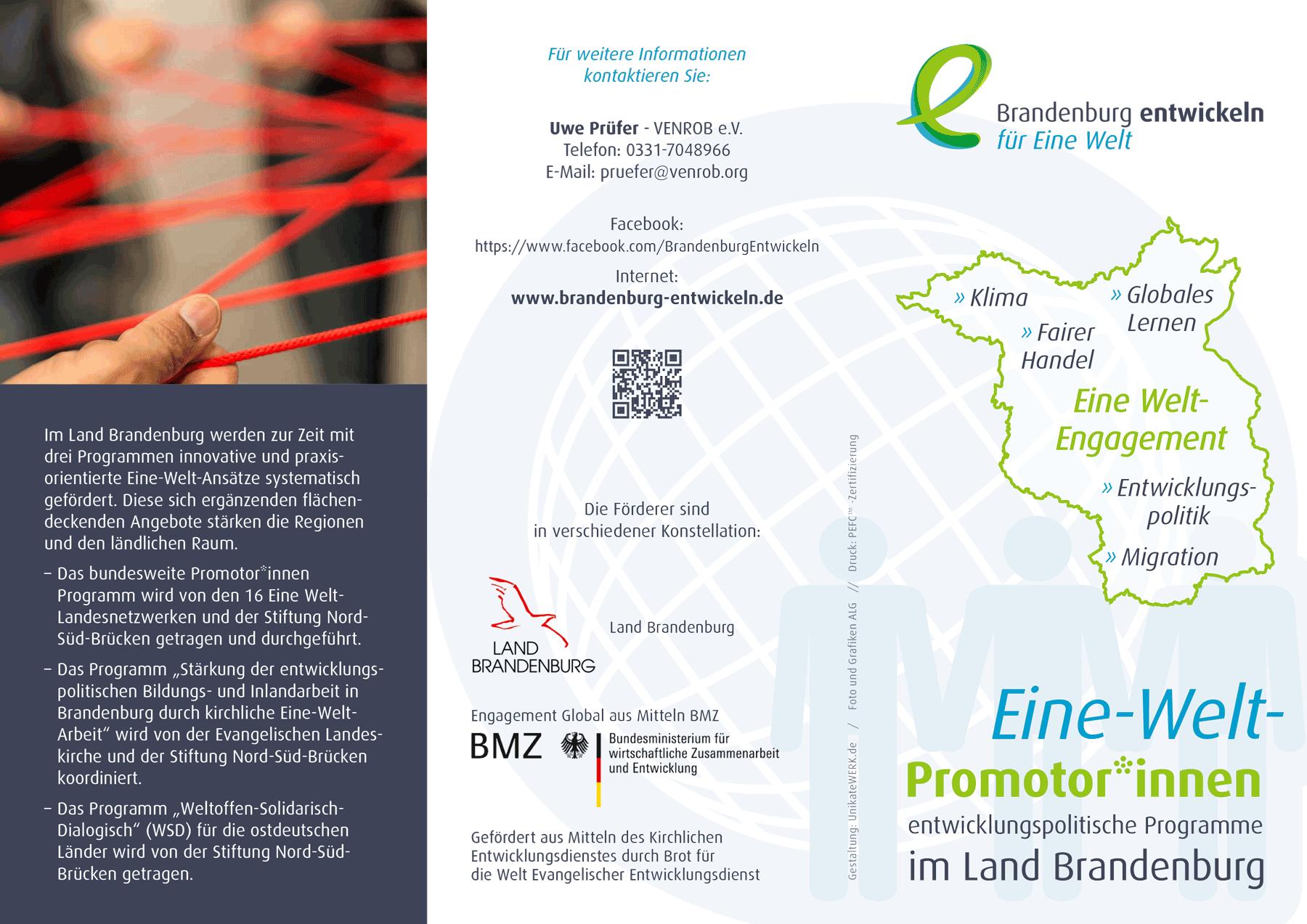 Eine-Welt-Promotor*innen – entwicklungspolitische Programme im Land Brandenburg – Aktueller Flyer Seite 1