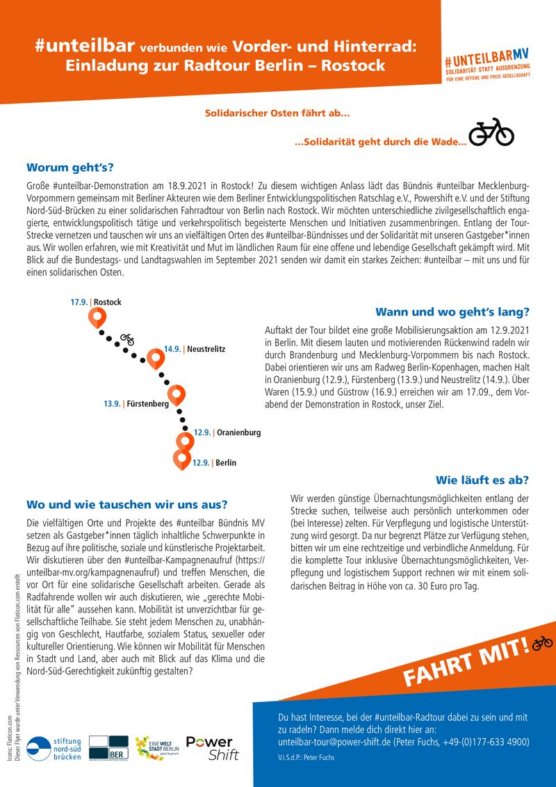 #unteilbar verbunden wie Vorder- und Hinterrad: Einladung zur Radtour Berlin – Rostock