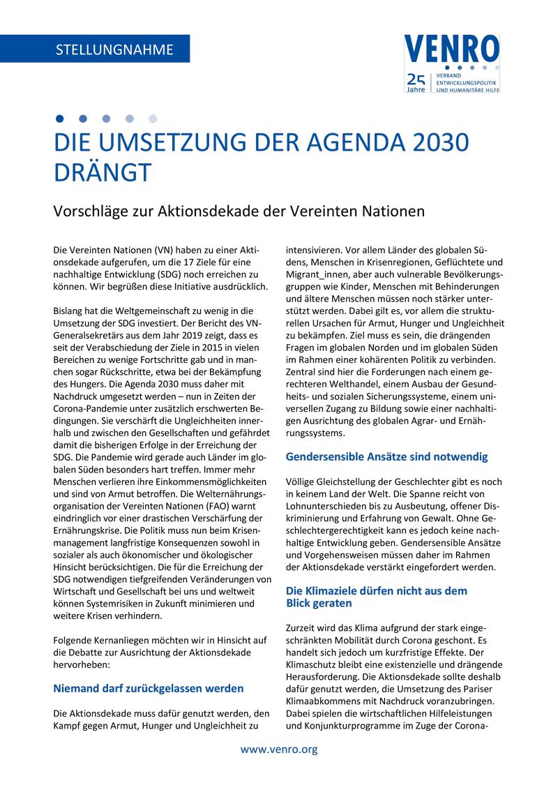 """VENRO Stellungnahme """"Die Umsetzung der Agenda 2030 drängt"""""""
